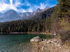 озеро, берег, гора