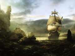 корабль, art, пиратский