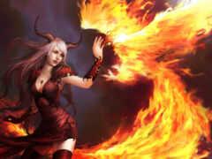 phoenix, девушка, огонь