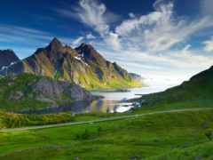 горы, река, скандинавские