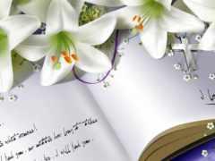 notebook, книга, flowers