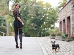 девушка, собака, улица