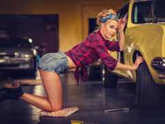 авто, девушка, машина
