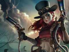 steampunk, оружие, воин