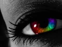 глаз, листь, радуга