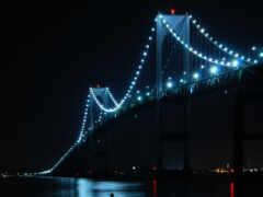 мост, ночь, фонари Фон № 91804 разрешение 3840x2160