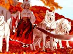 волк, девушка, anime