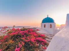 greece, море, bougainvillea
