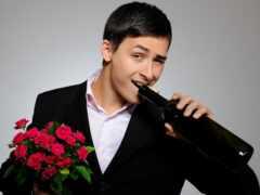 мужчина, парень, цветы
