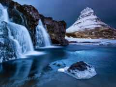 водопад, гора, iceland