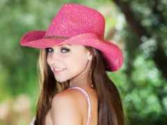 девушка, шляпе, розовой
