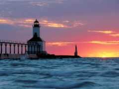 michigan, lighthouse, озеро