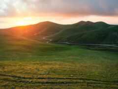 гора, закат, горизонт