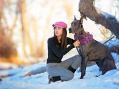собака, девушка, природа