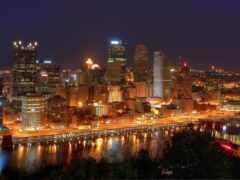 город, ночь, огонь