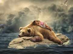 девушка, медведь, заставки