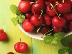 еда, ягоды, вишни