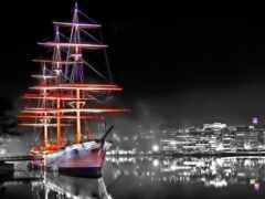 корабль, sailboat, ночь