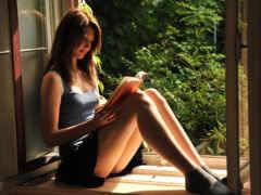 читает, девушка, книги