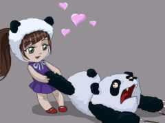 панда, девушка, медведь