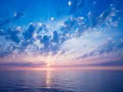 облако, море, горизонт