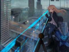 город, anime, небоскрёб