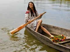 девушка, лодка, лодке