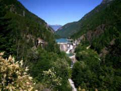 mountains, dam