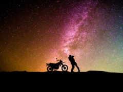 ночь, мотоцикл, небо