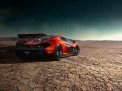 mclaren, orange, storm, road, supercar, desert, rear