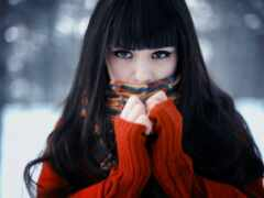 девушка, brunette, winter