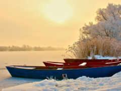 рыбалка, природа, снег