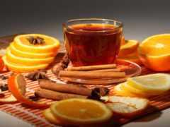 чая, апельсином, корицей