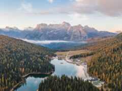 озеро, лес, гора