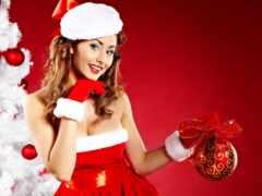 девушка, санта, christmas