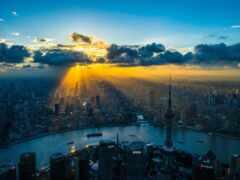 shanghai, восход, город