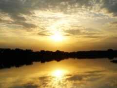 природа, закат, отражение