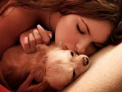 девушка, собаки, целует