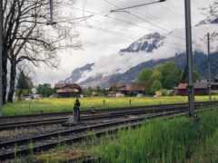 дорогой, поезд, гора