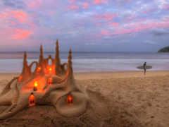 песок, море, свечи