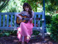 девушка, гитара, play