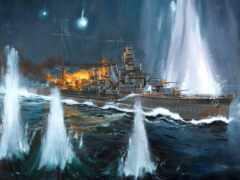 корабль, огонь, drawing