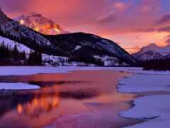 закат, природа, winter