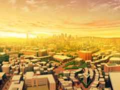 улицы, мегаполис, здания