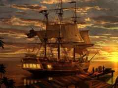 корабль, пиратский, пиратский