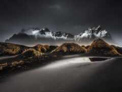 гора, iceland, dark