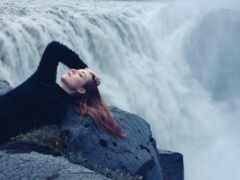 урок, девушка, водопад