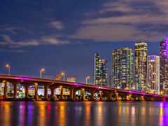 miami, ночь, мост