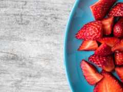comer, fruta, noite
