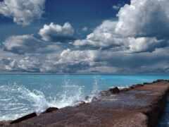 море, причал, волна